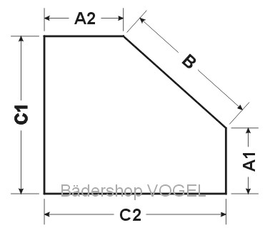 Masszeichnung Fünfeck Duschabtrennung mit Drehfalttüren EXCLUSIV