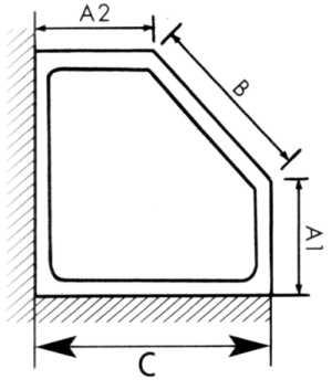 Masszeichnung Fünfeck Duschabtrennung mit Drehfalttüren EXCLUSIV - Kleinbadlösung