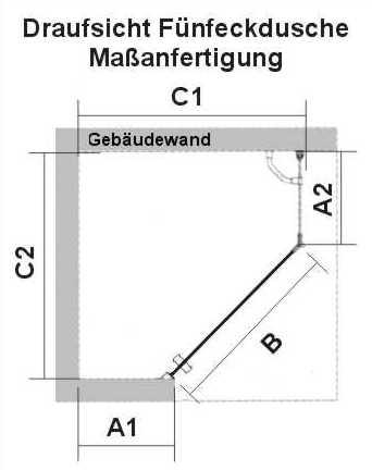 Duschabtrennung PREMIUM Softcube 5-eck Maßanfertigung mit Wand
