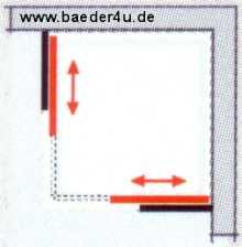 Eckeinstieg Gleittür SOLIDA barrierefrei - Maßanfertigung bis B 140 cm