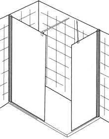 WALK IN Duschabtrennung PREMIUM<br>gerades Element mit Seitenteil - Maßanfertigung