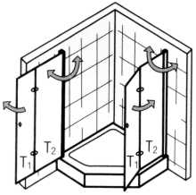 Fünfeck Duschabtrennung mit Drehfalttüren EXCLUSIV 100