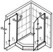 Fünfeck Duschabtrennung mit Drehfalttüren EXCLUSIV  anzeigen