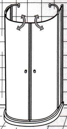 Runddusche  EXKLUSIV Halbkreis 110 x 90 mit Duschwanne