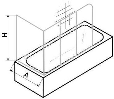 Masszeichnung PRIMA Badewannen Duschwand dreiteilig mit Seitenteil - Maßanfertigung bis Höhe 160 cm