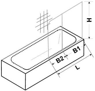 Masszeichnung Duschwand für Badewannen zweiteilig mit Festelement - Maßanfertigung