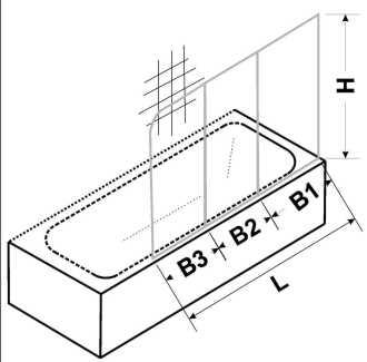 Masszeichnung PRIMA Badewannenfaltwand dreiteilig - Maßanfertigung