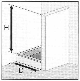 Masszeichnung Duschwand mit Dreh-Falttür für Nische - Maßanfertigung Breite 50 - 120 cm