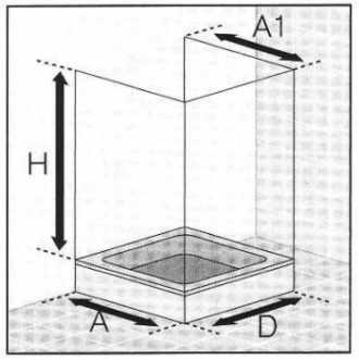 Masszeichnung Dusche vor Fenster in U-Form 6-teilig mit Drehfalttüren - Maßanfertigung