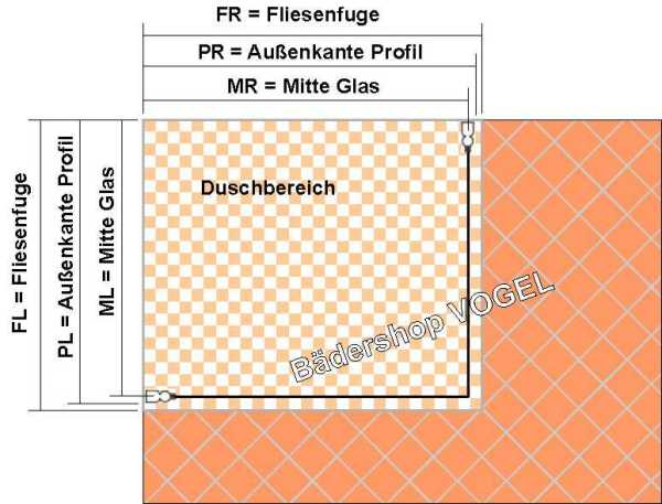 Hinweise Zum Einbau Duschwand Mit DrehFalttüren X Auf - Fliesen maße standard