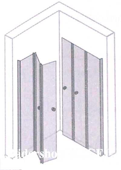 eckeinstieg mit 3 teiligen drehfaltt ren ma anfertigung. Black Bedroom Furniture Sets. Home Design Ideas
