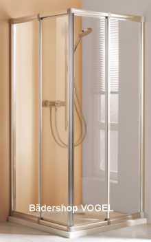Eckeinstieg Echtglas 2-teilig, Breite 70 - 80 cm x Höhe 175