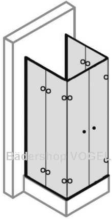 Duschwand faltbar Eckeinstieg mit Dreh-Falttüren 90 x 185 alu ... | {Duschabtrennung faltbar 74}
