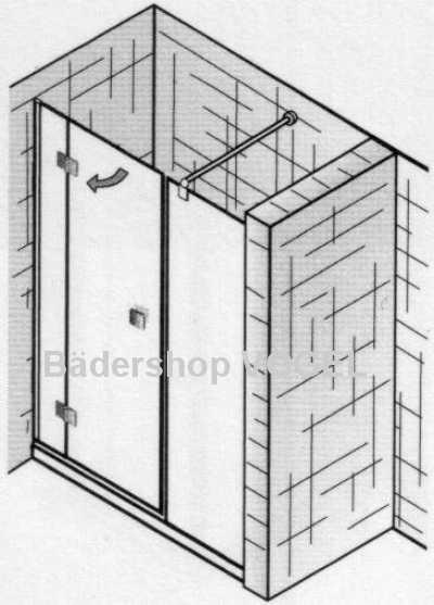 ATELIER Schwingtür 3teilig  für Nischeneinbau schematisch