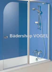Duschwand für Badewannen zweiteilig mit Festelement - Maßanfertigung