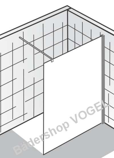 Duschwand WALK IN - gerades Element, schematisch