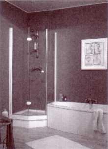 Fünfeck Duschabtrennung mit Drehfalttüren EXCLUSIV - Kleinbadlösung