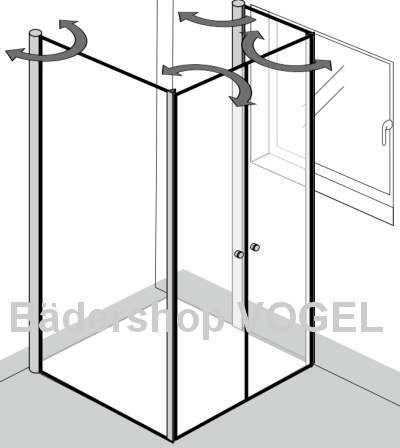 Duschtrennwand mit Drehfalttüren vor einem Fenster, mit Wandanschluß