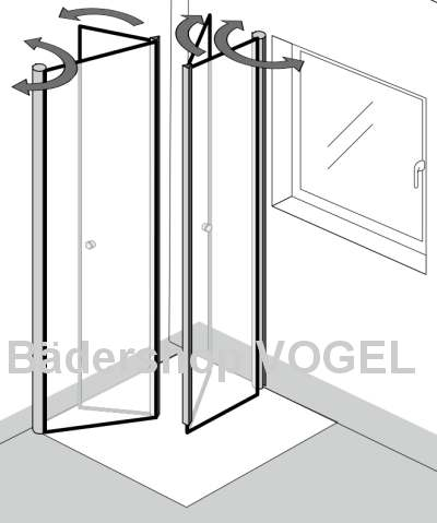 duschabtrennung in u form vor dem fenster im badezimmer 4 teilig als ma anfertigung h he bis 210 cm. Black Bedroom Furniture Sets. Home Design Ideas