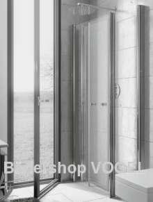 Duschabtrennung mit Profil-Drehfalttüren 4-teilig FENSTERLÖSUNG - Maßanfertigung, Höhe bis 200 cm