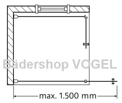 Duschkabine mit Drehfalttüren vor einem Fenster, schematisch