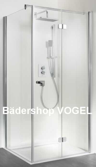 Duschkabine mit Drehfalttür mit Seitenwand