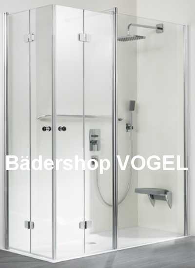Duschkabine asymmetrisch als Eckeinstieg 4tlg. mit Drehfalttüren und Festelement auf einer Seite