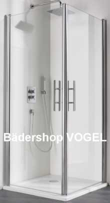 Dusche Eckeinstieg mit Schwingtüren 75 x 80