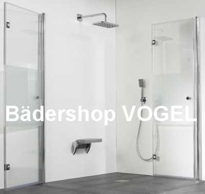 Dusche als Eckeinstieg 4tlg. mit Drehfalttüren geöffnet