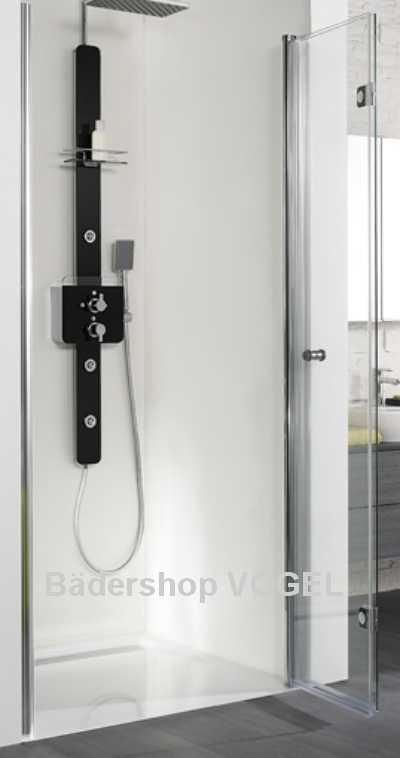 dusche mit faltt r 75 cm f r den nischeneinbau montage auf begehbare dusche auf gefliestem. Black Bedroom Furniture Sets. Home Design Ideas