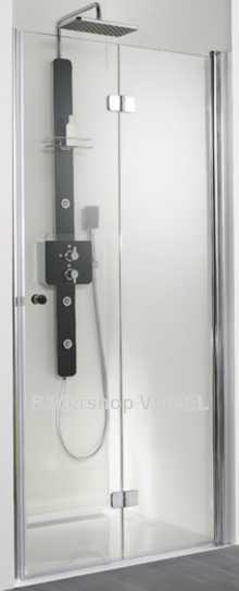 Duschabtrennung barrierefrei mit Drehfalttüren für Nische bis 200 cm Breite anzeigen