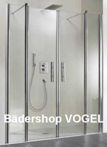 Duschabtrennung für die Nische mit Pendeltüren und Festelementen bis 200 cm Breite anzeigen