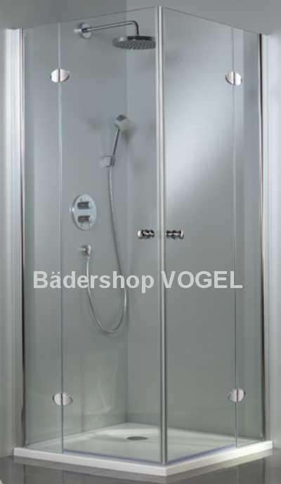 Duschabtrennung Eckeinstieg 4tlg. mit 2 feststehenden Teilen und 2 nach außen öffnenden Türen