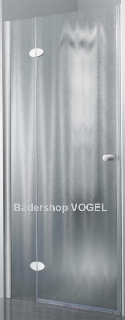 Duschwand für die Nische mit nach außen öffnender Tür und feststehendem Element, hier in Glasart chinchilla