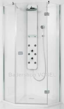 Duschabtrennung Echtglas PREMIUM Softcube 100 fünfeck