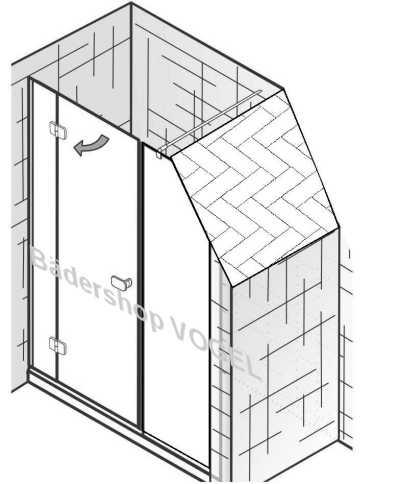 3 teilige Duschkabine für Nische mit Schrägschnitt am Festelement