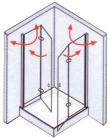 Vorschau: Eckeinstieg mit Dreh-Falttüren 80 x 80