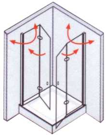 Duschabtrennung faltbar  Duschwand faltbar Eckeinstieg mit Dreh-Falttüren 90 x 185 alu ...