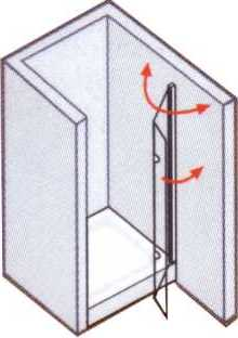 Duschwand mit Dreh-Falttür für Nische - Maßanfertigung Breite 50 - 120 cm