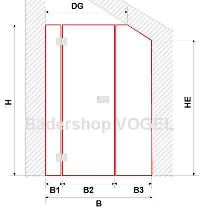 Masszeichnung Drehtür PREMIUM Breite 130 - 200 cm -  Maßanfertigung in Nische mit Schrägschnitt